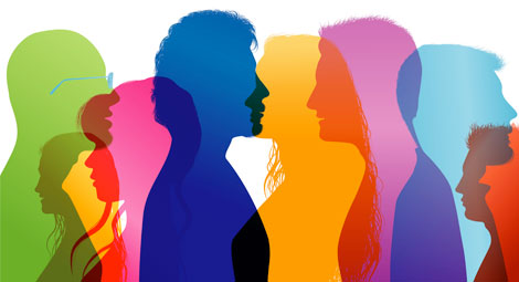 Coloured silhouttes of people